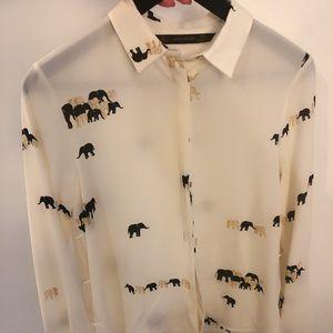 Zara white/ivory blouse/shirt - elephant pattern